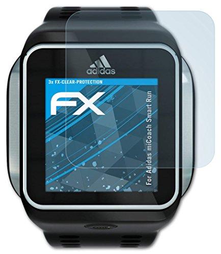 Adidas miCoach Smart Run Schutzfolie - 3 x atFoliX FX-Clear kristallklare Folie...