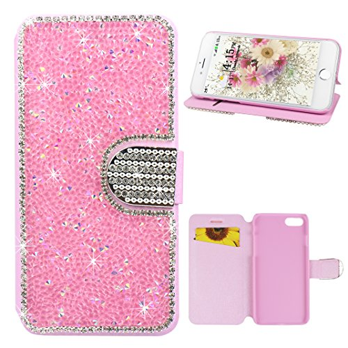 Schutzhülle iPhone 7 Leder, Book Style Hülle für iPhone 7 Bling Glitzer, iPhone 7 Bumper Hülle, [Voll frontal Dreieck Diamant Design] Moon mood® Glitter Case Skin Tasche Ledertasche für Apple iPhone 7 Rosa