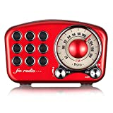 Altavoz Retro Estéreo Inalámbrico Con Radio FM Madera Radio Altavoz Bluetooth Radio Mini Altavoz Portátil Bluetooth Vintage Con Entrada de Audio Usb 3.5mm Rojo Bluetooth 4.2 Puertos de la Tarjeta TF A