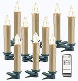 Lunartec Kerzen ohne Kabel: Funk-Weihnachtsbaum-LED-Kerzen, Fernbedienung, 10er-Set, golden (Kerzen kabellos mit Fernbedienung)