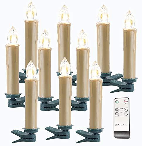 Lunartec Kabellose Kerzen: Funk-Weihnachtsbaum-LED-Kerzen, Fernbedienung, 10er-Set, golden (Kabellose Weihnachtsbeleuchtung)