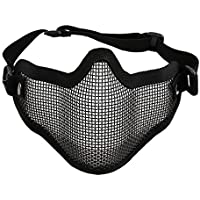 Nowakk Half Lower Face Ears Coverage Metal Steel Net Mesh Tactical Protective Airsoft Mask for War Game Paintball Hunting