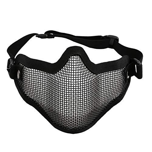 Nowakk Halbe untere Gesicht Ohren Abdeckung Metall Stahlnetz Mesh Taktische Schutz Airsoft Maske für Kriegsspiel Paintball Jagd