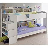 Jugendmöbel24.de Hochbett Akazie Inklusive 2 Lattenrostplatten + Regale + Leiterpodest Spielbett Kinderbett Kinderzimmer Doppelbett Stockbett Etagenbett