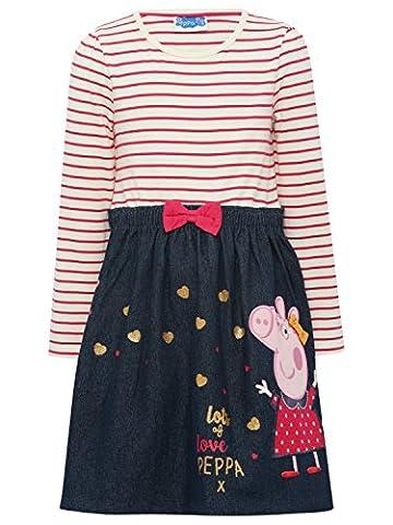 Peppa Pig Girls 100% Cotton Long Sleeve Pink Stripe Denim Stretch Waist Character Motif Skater Dress Pink 4/5 Yr