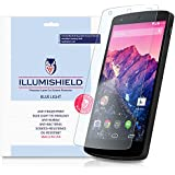 iLLumiShield - Google Nexus 5 (HD) Blue Light UV Filter Screen Protector Premium High Definition Clear Film / Reduces Eye Fatigue and Eye Strain - Anti- Fingerprint / Anti-Bubble / Anti-Bacterial Shield - Comes With Free LifeTime Replacement Warranty - [2-Pack] Retail Packaging