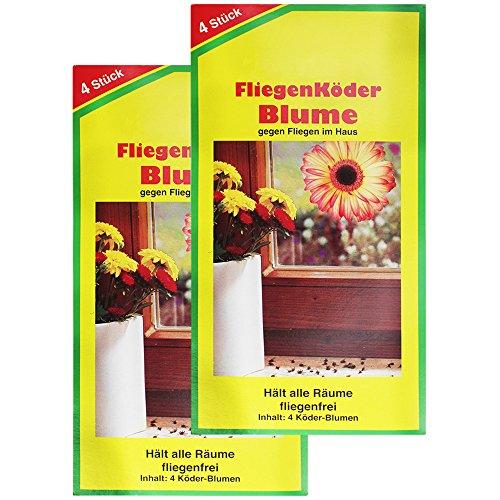 *COM-FOUR® 8x Fliegenköder in Blumenform, Fensteraufkleber*