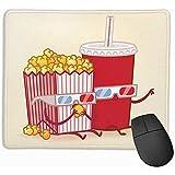 Tappetino per mouse Bevande e popcorn Tappetini per mouse in gomma antiscivolo Tappetini per mouse da gioco Tappetino per computer portatile 25X30 cm