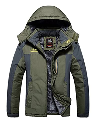 HOUWEN Men's Outdoor Waterproof Mountain Jacket Fleece Windproof Ski Jacket Army Green/XL