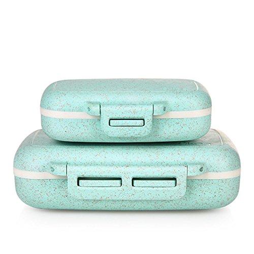 WAOBE Pill Box - Portable Reisemedizin Pill Box Organizer mit 6 Kammern Umweltschutz Dichtung und feuchtigkeitsdichten Portable Pill Box , Blue , B