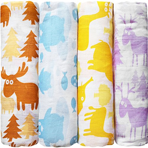 """Animals"" Colourful Cuddlebug Muslin Baby Swaddle 