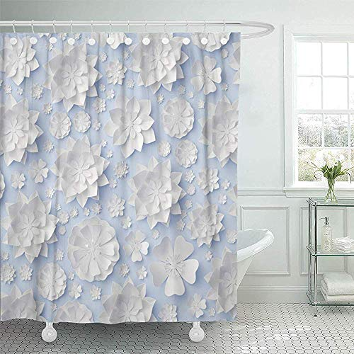 LINGJIE Duschvorhang Colorful Sophisticated 3D Render Digital White Blue Floral Flowers Wedding Wall Bridal Beautiful Shower Curtain Shower Curtain with Plastic Hooks