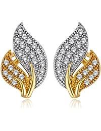 Alamod Gold-Silver-Toned CZ Stone Leaf Stud Earring FER_020