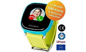 XPLORA-Telefonuhr (Blau) für Kinder, inklusive 12 Monate Telefonie, Internet und XPLORA-Dienste (NUR FÜR KUNDEN IN Deutschland)