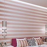YUELA Non-woven Beflockung wallpaper Moderne, einfache gestreifte Tapeten Tapeten im Wohnzimmer, Rosa
