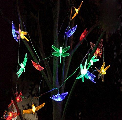 YARBAR 20LED solare farfalla libellula Garden Fairy String Natale Giardino Luce (Farfalla Strings)