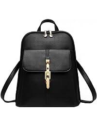Vintage Schulter Rucksack PU Leder für Schule Etwas Reise Backpack Damen, Schwarz