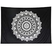 YANIBEST Mandala Wall Hanging Bedding Tapestry Indian Hippie Bohemian Psychedelic Peacock Mandala Wall Hanging Bedding Tapestry