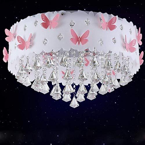 * Moderne Deckenleuchte Kristall Anhänger Prinzessin Mädchen Warme Romantische Hochzeit Zimmer Schlafzimmer Schmetterling Deckenleuchte Runde Acryl Metall Dekorative Deckenleuchte 3 * E27 & Oslash; 60 -