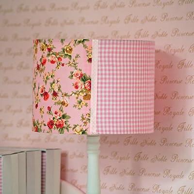 Kinderzimmer Tischlampe Kinderlampe LAURA, rosa, vichy karo - Blümchen Muster