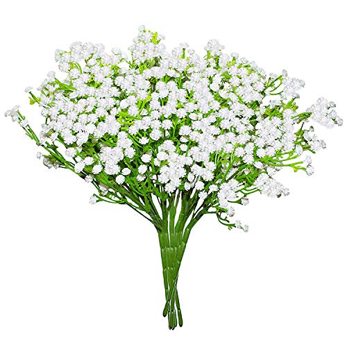 Fiori artificiali gipsofila (confezione da 8)-fiori di gipsofila (33 cm) 8 steli foglie finte-fiori artificiali per casa, ufficio, camera da letto e soggiorno-ideali per decorazioni floreali