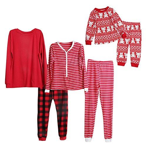 passenden Pyjama Set, Doubleer Weihnachten Papa Mama Kind Baumwolle Nachtwäsche Kostüm Outfits (Passenden Family Pyjama-sets Für Weihnachten)