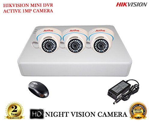 HIKVISION 4 CH DS-7104HGHI-F1 DVR 1PCS, ACTIVE AHD 1MP AHD1D36 DOM NIGHTVISION CCTV CAMERA 3PCs  available at amazon for Rs.7300