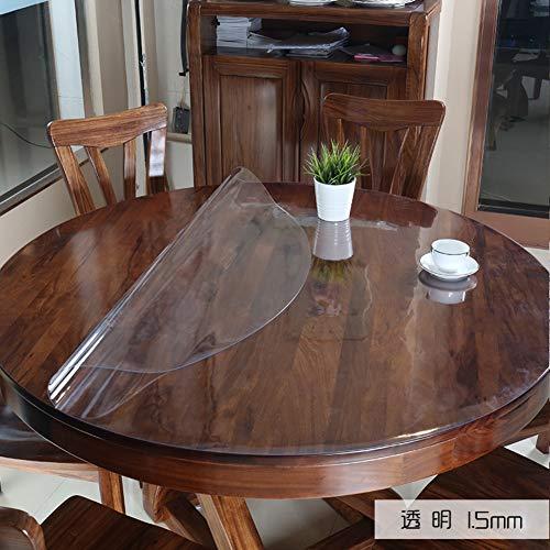 D&le 1.5mm spesso tondo protezione per tavolo, cristallo chiaro plastica vinile pvc tovaglia impermeabile non-slip copritavolo pad tabella cerchio-trasparente 1.5mm diameter 120cm(47inch)