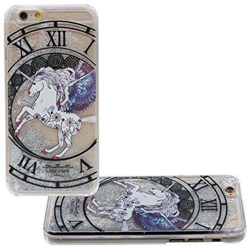 Schutzhülle iPhone 6S Hülle Case, Einhorn Uhr Muster Fließbar Sand Flüssigkeit Wasser Klar Transparent PC Kunststoff Hart Cover für Apple iPhone 6 6S 4.7 inch Hülle grau