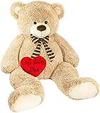XXL Teddy hellbraun mit Herz, 150cm