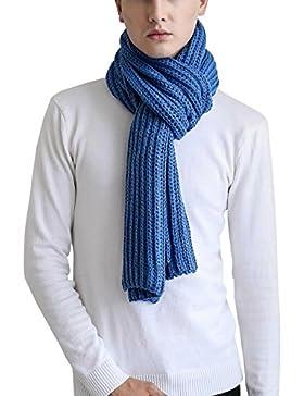 Aivtalk - Bufanda de Punto Gancho de Mujer Hombre Solido Estilo Casual Clásico - Azul - 25x185xm