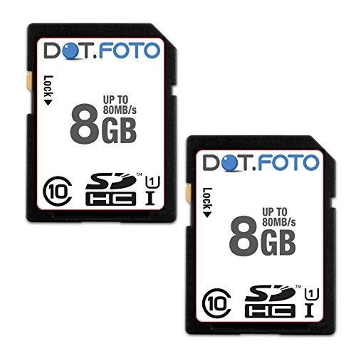Dot.foto scheda di memoria alta velocità sdhc da 8 gb, fino a 80 mb/sec, classe 10 uhs-1 (2 pezzi) per samsung smx-f30 | smx-f33 | smx-f34 | smx-f40 | smx-f43 | smx-f44 | smx-f50 | smx-f53 | smx-f54 | smx-f70 | smx-f400 | smx-f401 | smx-f500 | smx-f501 | smx-f530 | smx-f700 | smx-k40 | smx-k44 | smx-k45 | smx-k400 | smx-k442