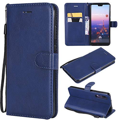 Artfeel Flip Brieftasche Hülle für Huawei P20 Pro, Premium PU Leder Handyhülle mit Kartenhalter,Retro Bookstyle Stand Abdeckung mit Magnetverschluss Handschlaufe Hülle-Blau -