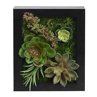 3D Wandhalter Künstliche Blumen Metope Kunst Sukkulenten in Quadrat Holzrahmen für Wandverzierung 7,87 * 9,84 Zoll