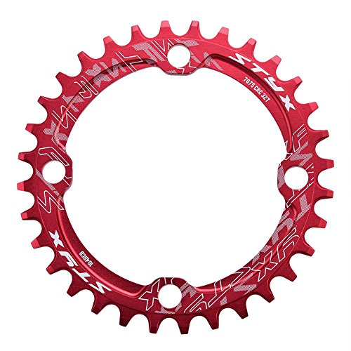 Anillo de Cadena Simple Piezas de Reparación de Reemplazo Anillo de Bielas de Bicicleta Acero 104BCD 32/34/36/38T(36T-rojo)