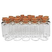 MINGZE 20 Stuks 20 ml Glazen Flesjes, Kleine Mini-glazen Fles Kurkflessen Monsterpotjes Met Natuurlijke Kurk Kurkstoppers Voor Laboratoriumglas Doe-het-zelfdecoratie Geuren Oliën Feestartikelen