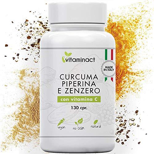 Curcuma E Piperina Plus Zenzero Vitamina C▪️130 cpr▪️Altissimo Dosaggio Naturale Di Estratto Curcuma 1280,00Mg▪️Curcumina 200,00Mg▪️Piperina 10,00Mg▪️Massimi Benefici▪️Qualità Italiana▪️Nuova Formula