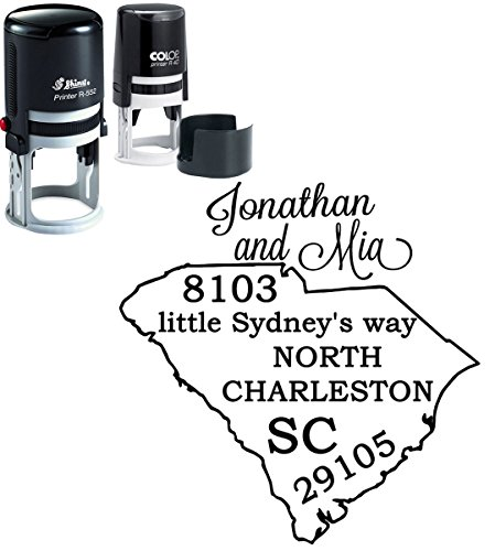 Personalisierte South Carolina State Map Stamp Individueller Selbstfärber Familie Adresse Stempel - Personalisierte State Map