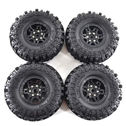 nero 4 ruote di bloccaggio in metallo durevole universale Crawler Beadlock cerchi simulazione pneumatico SCX10