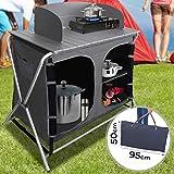 MIADOMODO Armario Cocina Camping Plegable | con 3Compartimentos de Almacenaje, 86x50x110cm, con Paravientos,...