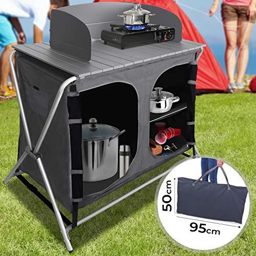 MIADOMODO Armario Cocina Camping Plegable - con 3 Compartimentos de Almacenaje, 86x50x110cm, con Paravientos, Aluminio, MDF - Mueble Cocina Camping, Armario Cocina Plegable, Estructura Camping