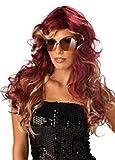 Schaufensterpuppendiscount Perücken Damen Lang Rot-Blond Polyester Seitenscheitel gewellt Karneval 80er Jahre Party