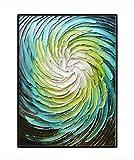 ZSLMX Blaue GrüNe Blume 3D Dick Strukturierte Handmalerei Abstrakte Grafik Handgemalt Auf Segeltuch Wandkunst Dekoration Zuhause, Shopdekoration,50x75cm/19.6x29.5In