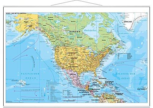 Stiefel EUROCART Länderkarte Nord- und Mittelamerika politisch, 137 x 89 cm mit Metallleiste