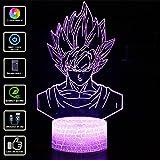 3D illusione Lampada Luce Notturna NHSUNRAY LED 7 colori cambia Lampada da Touch con telecomando,per la decorazione domestica della camera da letto Compleanno di nozze Natale e regalo di San Valentino Atmosfera artistica e romantica (Dragon Ball)