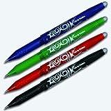 Pilot Frixion Lot de 4 stylos type roller en couleurs assorties: noir, bleu, rouge, vert