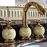 WP European-style Dreilochbatterie/Antique Rose Gold Marmor-Waschbecken Wasserhahn heißen und kalten Jade-A
