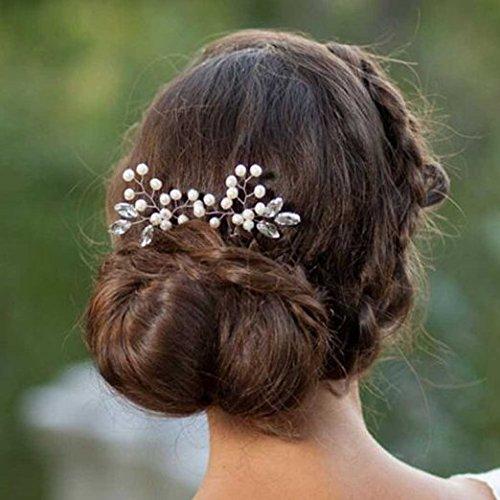 Aukmla Crystal Pearl accessori per capelli–da sposa capelli spille per donne e ragazze