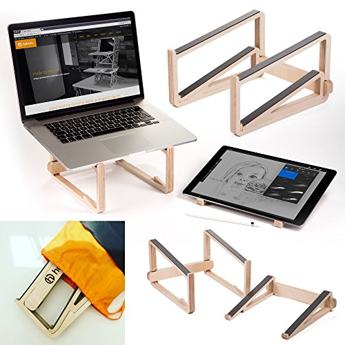helmm Laptop-Ständer–la-stand–Tragbar Two in One Holz Laptop und Tablet Unterstützung