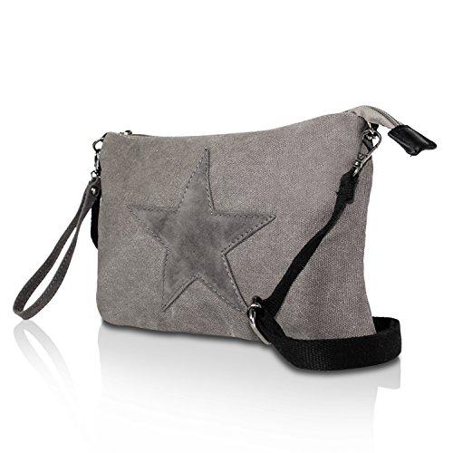 0c4fb939d1a2c Glamexx24 Damen Clutches Tasche Handtaschen Schultertasche Umhängetasche  mit Stern Muster Tragetasche TE201615 7DunkelGrau ...